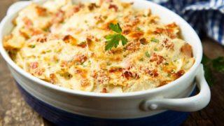 Pasta-leek-sausage-bake-in-baking-tin