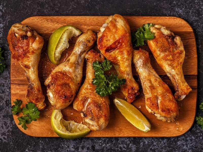 BBQ chicken drumsticks board