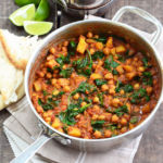 Chickpea and Spinach Curry in a pot
