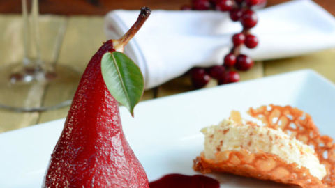 Poached Pears with White Chocolate Cream