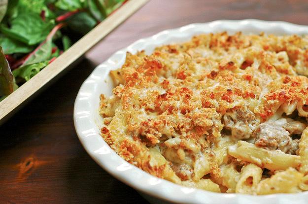 Sausage leek and pasta bake 1