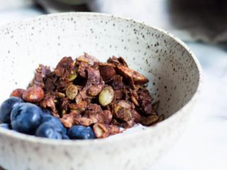 Chocolate granola blueberries