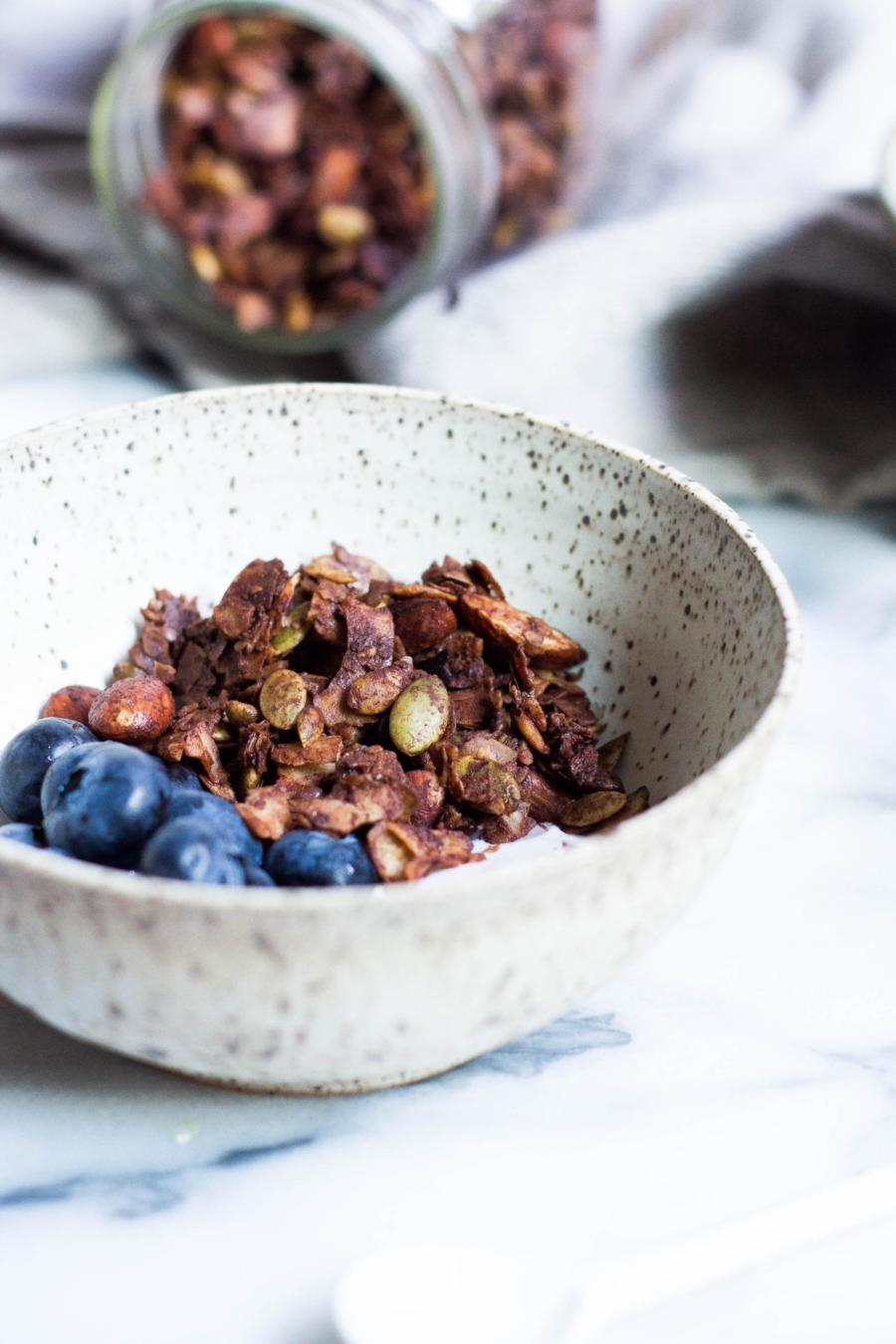 Chocolate granola blueberries