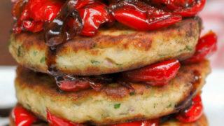 mash potato cakes with pepper salsa