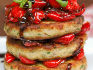 mash potato cakes with pepper salsa