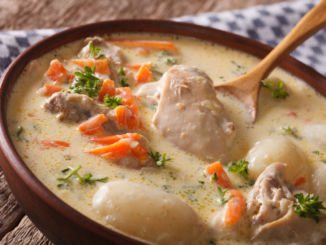 Tasty Belgian waterzooi soup with chicken